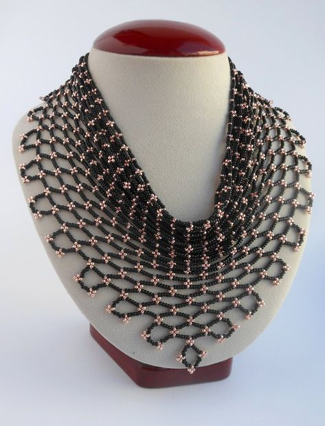 Women beaded necklace gift for wife idea Scarf necklace beaded Jewelry gift women's scarf Seed beaded necklace Black women's necklace