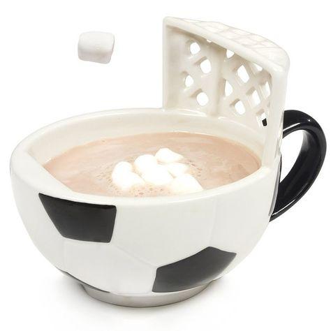 A soccer mug with a goal.
