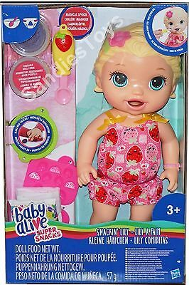 Baby Alive Super Snacks Snackin Lily Blonde Doll 12 50 Playset New Baby Alive Baby Alive Dolls New Baby Products
