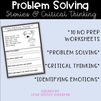 Problem Solution NO PREP Worksheets Love Speech Therapy
