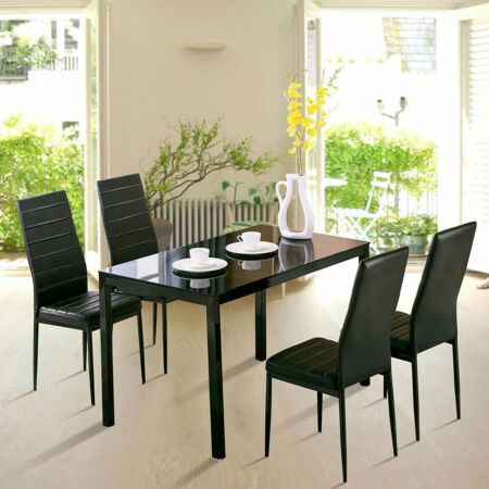 2 4 6 Faux Leather Chairs Set And Glass Table Set Kitchen Black Suit Home Unite Ebay Glass Dining Table Set Kitchen Table Settings Glass Dining Table