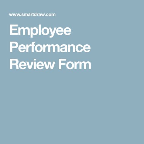 Employee Performance Review Form  Employee Evaluation Form
