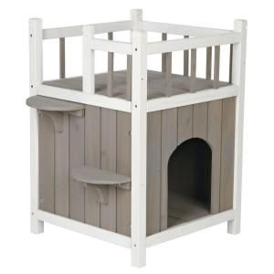 Trixie 17 5 In L X 17 5 In W X 25 5 In H Wooden Pet Home With Balcony 44093 The Home Depot Outdoor Cat House Wooden Cat House Cat Condo