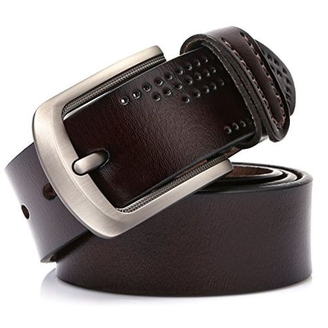 Premium Quality Zenocci Full-Grain Leather Belts for Men Turia Collection Brown, Waist: 40-42 Classic Single Prong Buckle Belt