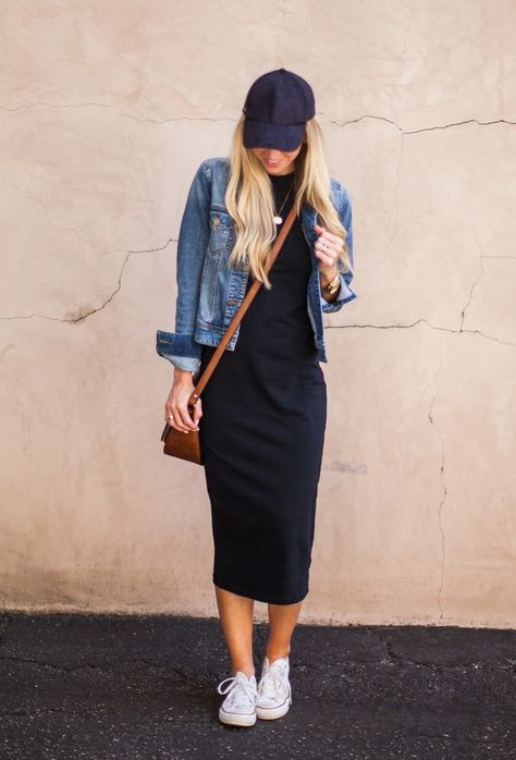 The t-shirt dress is an easy, casual, everyday look with a hat and sneakers.