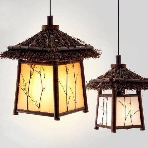 De Jardin En Bambou Chinois Couloir De Restaurant Pendentif Lumiere Retro Japonais Salon De The Club House Balcon Pende Japanese Lighting Pendant Lighting Lamp