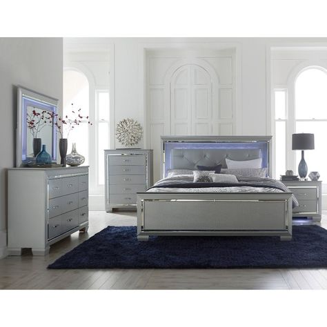 Gray 4 Piece California King Bedroom Set Allura Wood Bedroom