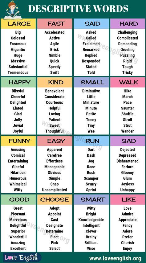 Descriptive Words: 150+ Best Descriptive Words in English - Love English