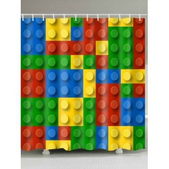 Building Blocks Pattern Waterproof Fabric Shower Curtain Lego
