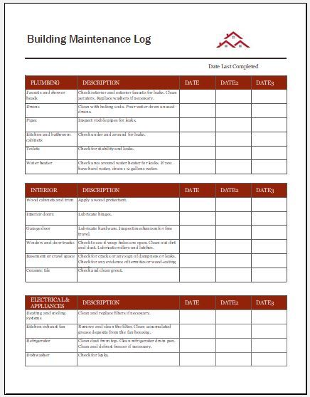 Building Maintenance Log Building Maintenance Maintenance Maintenance Checklist