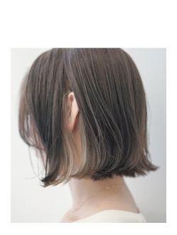 グレージュインナーカラーボブ 髪型 ミディアム アレンジ 髪 色 髪型