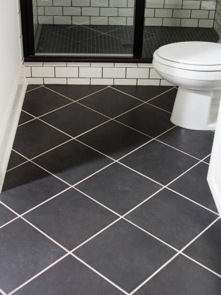 The Terrace Suite Bathroom Floor Features 12x12 Black Ceramic Tiles Laid In A Diagonal Pattern An Ceramic Tile Bathrooms Bathroom Flooring Bathroom Floor Tiles