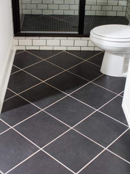 The Terrace Suite Bathroom Floor Features 12x12 Black Ceramic Tiles Laid In A Diagonal Pattern An Ceramic Tile Bathrooms Bathroom Flooring Bathroom Floor Tiles