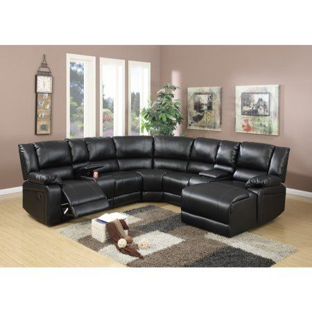 Brilliant Bonded Leather 5 Pieces Reclining Sectional In Black Gmtry Best Dining Table And Chair Ideas Images Gmtryco