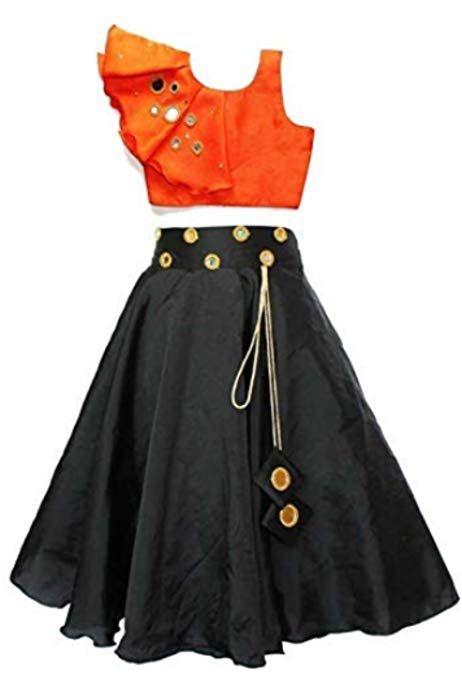 Girl 39 S Taffeta Wear Lehenga Choli With Mirror Work Orange 9 10 Years Choli Dress Kids Dress Lehenga Choli