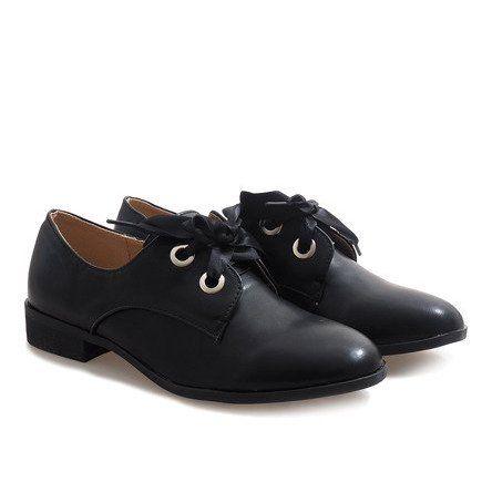 Czarne Lakierowane Sznurowane Polbuty Biy9023 Cs Dress Shoes Men Oxford Shoes Womens Oxfords