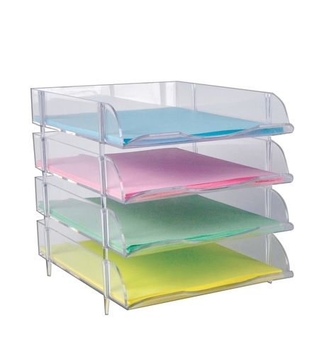 Clear Stackable Letter Tray 4ct Plastic Paper Tray Bin Letter Tray Paper Tray Paper Tray Organizer