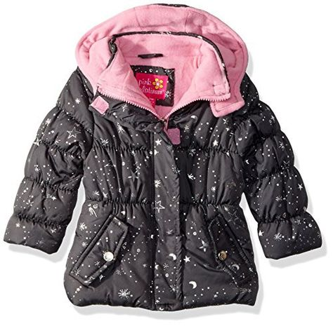 Pink Platinum Baby Girls Star Foil Puffer