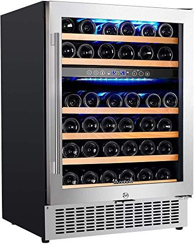 Buy Upgraded Aobosi 24 Inch Dual Zone Wine Cooler 46 Bottle Freestanding Built Wine Refrigerator Advanced Cooling System Quiet Operation Blue Interior Light Easily Store Larger Bottles Online Wine Fridge Wine