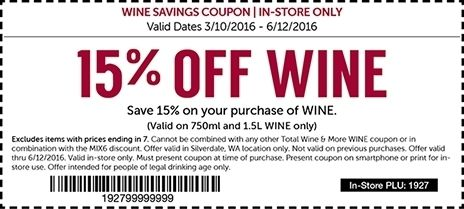 picture regarding Total Wine Coupon Printable identified as Amount of money Wine Printable Coupon December 2018 / Buffalo Wagon
