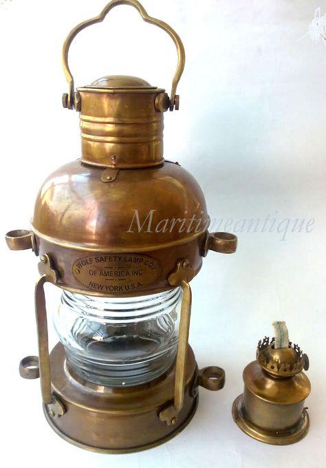 Ship Lantern Nautical Lantern Marine Brass Oil Lamp Wolf Safety