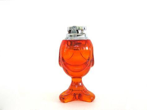 Vintage Glass Table Lighter, Viking Epic Drape Persimmon Orange Mid-Century Art Glass, Table Cigarette Lighter, 1960's Viking Glass by BrooklynStVintage on Etsy