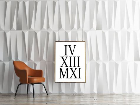 TYpography Print,ROMAN NUMERALS,Anniversary Wedding Prints,Black And White,Roman Numbers,Personalized…