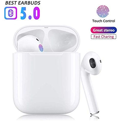 Noise Canceling IPX7 Waterproof Sports Headphones Bluetooth 5.0 Wireless Earbuds Wireless Earphones for Apple Airpods pro Android//iPhone Pop-ups Auto Pairing with Mini Charging Case
