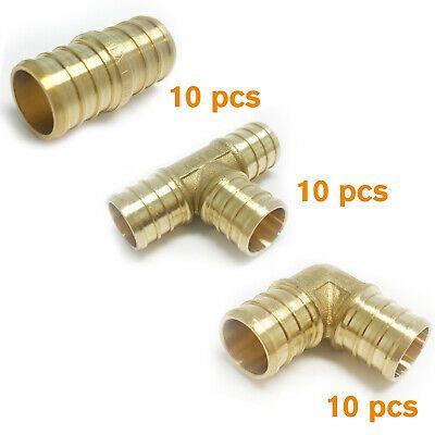 "5 Tees LEAD FREE BRASS 5 Couplings 1//2/"" Brass PEX Fittings 10 Elbows"