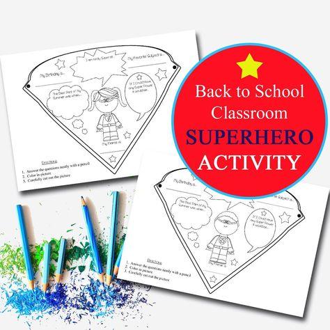 PRINTABLE Superhero Classroom Activity, , SuperHero Classroom, Elementary Teacher Superhero Worksheets, Superhero Banner