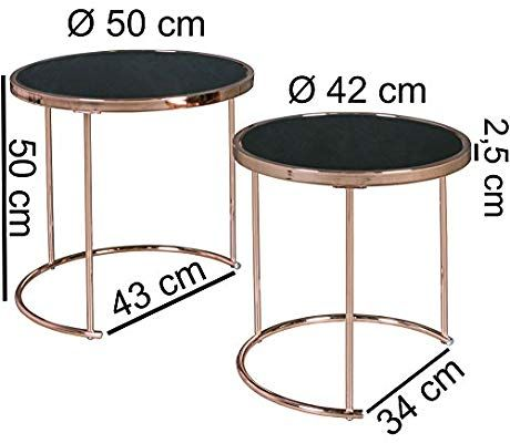 Finebuy Design Couchtisch Deco Glas Kupfer Tisch 2er Set Satztisch O 50 42 Cm Wohnzimmertisch Glasplatte Schwarz Mesa De Canto Decoracao De Ferro Decoracao