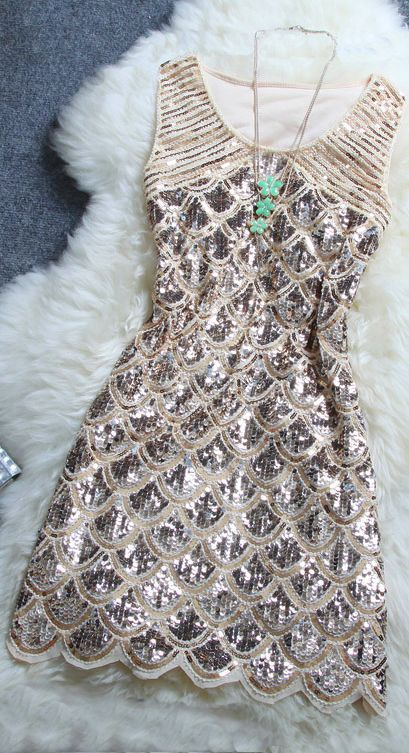 Lovely Beaded Sequin Dress For Night Party