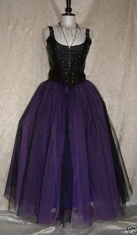 Tutu Skirt Long 18 Purple Black Goth Tulle Rockabilly Wedding Prom Full Length