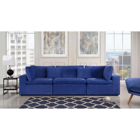 Mobilis Large Classic 3pc Living Room Microfiber Velvet Configurable Sofa Dark Blue Walmart Com In 2020 Sofa Design Blue Furniture Living Room Custom Sofa