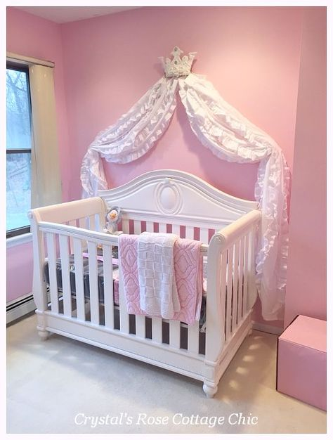 Pink White Bed Crown Canopy