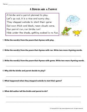 Worksheet A Birdie And A Parrot Read The Poem And Answer The Related Questions English Lessons For Kids This Or That Questions Lessons For Kids