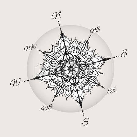 Graphic Windrose Kompass Mit Floralen Elementen Gezeichnet Wasser