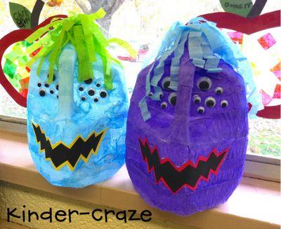 empty milk jug + crepe paper + google eyes + glue = Monster jug for Halloween treates