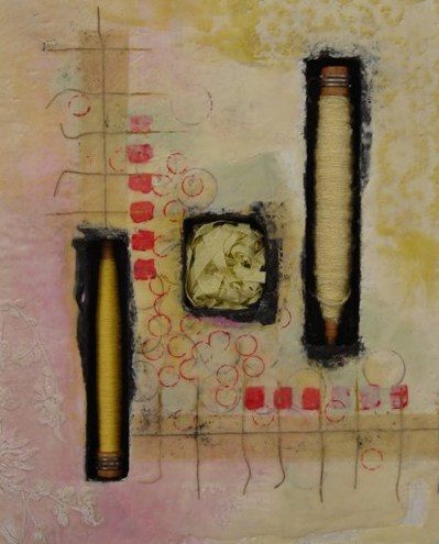 """Cotton, Paper, Wool  16x20x2"""" Clare Murray Adams - Bobbin and spindle series"""