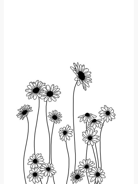 planting Drawing nature - 'Daisies botanical line drawing' Poster by TheColourStudy Bullet Journal Art, Line Art Drawings, Drawings, Doodle Art, Dog Tattoos, Art, Flower Line Drawings, Flower Sketches, Botanical Line Drawing