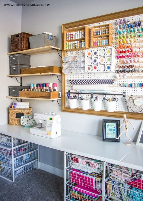 Check out this colorful and organized craft room makeover with a giant pegboard and get inspired by dozens more craft rooms! Check out this colorful and organized craft room makeover with a giant pegboard and get inspired by dozens more craft rooms! Sewing Room Organization, Craft Room Storage, Pegboard Craft Room, Organized Craft Rooms, Pegboard Storage, Craft Storage Ideas For Small Spaces, Craft Room Shelves, Small Craft Rooms, Organizing Art Supplies
