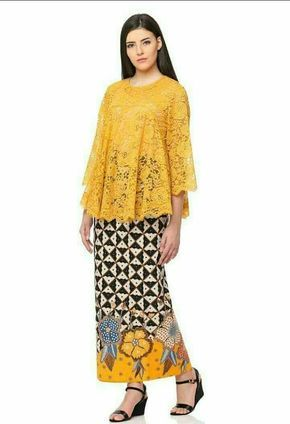 Model Kebaya Brokat Modern Warna Kuning Emas Baju Untuk Dipakai Di