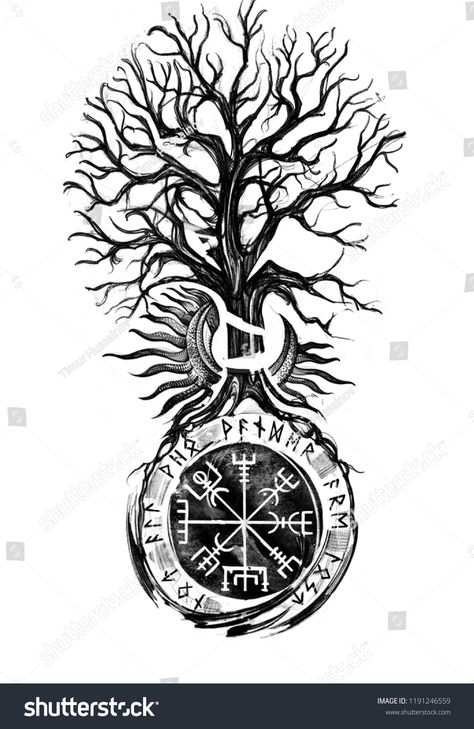 Find Viking Tree Traditional Vegvisir Historical Sun stock images in HD and millions of other royalty-free stock photos, illustrations and vectors in the Shutterstock collection. Thousands of new, high-quality pictures added every day. Arte Viking, Viking Art, Viking Runes, Viking Woman, Norse Mythology Tattoo, Norse Tattoo, Inca Tattoo, Tattoo Celtic, Norse Symbols