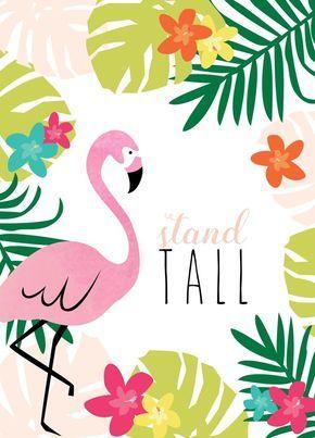 Flamingo wallpaper. July calendar quote apples