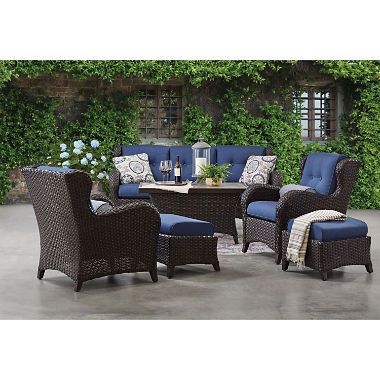 Member S Mark Agio Heritage 6 Piece Deep Seating Patio Set With Sunbrella Fabric Indigo Sam S Club Outdoor Furniture Sets Outdoor Seating Set Patio Set