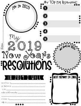 My 2020 New Year S Resolution Activity Poster Freebie New Years Activities Teaching Teaching Holidays