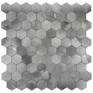 Abolos Enchanted Metals 12 In X 12 In Silver Aluminum Hexagon Peel And Stick Decorative Wall Tile Hmdehmhex Metal Mosaic Tiles Hexagonal Mosaic Mosaic Tiles