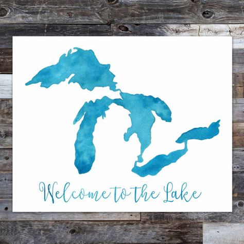 Welcome to the Lake Great Lakes Watercolor Map by thebiglake