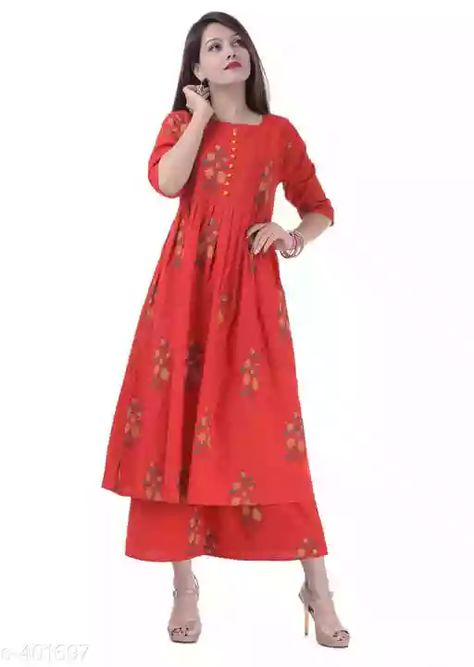 Trendy Cotton Kurti Palazzo Set Fabric: Kurti - Cotton, Palazzo - Cotton
