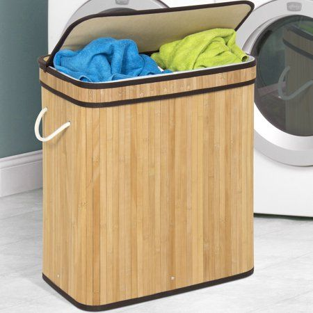 Best Choice Products Foldable Double Section Bamboo Hamper Laundry